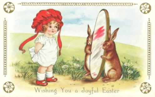 Free Scrapbooking | Old Fashioned Pictures | Easter rabbits hold mirror