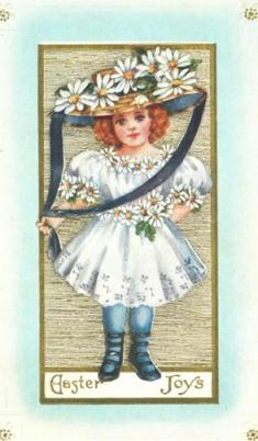 Retro Easter Card | 19th century girl with daisies on her bonnet