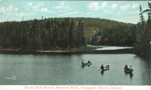 men in canoes fishing | Canadian Vintage Postcard