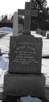Headstone: BONNIER  | St-Joachim, Chateauguay | Quebec Cemeteries
