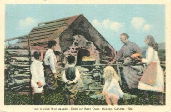 Retro vintage postcard: pioneers around traditional Quebec bake oven - two women and 4 children, Gaspe