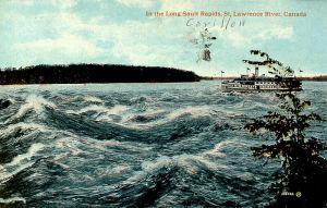 QUEBEC SURNAMES: Tranquille + Bayard, Tranquille Native Mohawk Iroquois Metis LOCATIONS: Sault-au-Recollet | Vintage Postcard of Saul-au-Recollet (Long Sault Rapids) on the St. Lawrence River