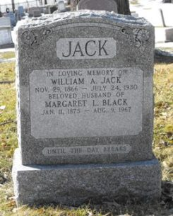 Headstone: JACK  | Chateauguay Old Protestant Cemetery | Quebec Cemeteries