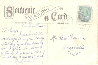 vintage postcard back with stamp | Canadian Family