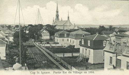 QUEBEC SURNAMES: Marchand + Bouchard, Groleau, Guatreau, Labauve, Leneuf, Levasseur, Marchand Kahnawake, Marchand Native Metis, Marchand Native Mi'kmaq, Morineau, Robutel, Rocheron, Sauvage LOCATIONS: Montreal, Quebec, Acadie, Cap-St-Ignace, St-Martin-de-Re, Pointe-de-Levy, Baie-St-Paul | Historic view of Cap St. Ignace - the eastern part of the village in 1894