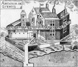 Historic line drawing Quebec City Agitation de Quebec | New France