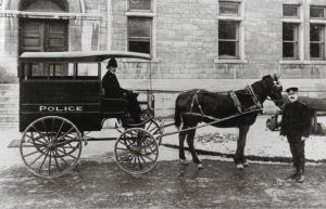 Quebec City - traditional horse-drawn police carriage - early 20th century