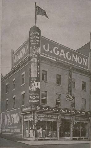 QUEBEC SURNAMES: Gagnon + Cauchon, Desvarieux, Godeau, Parenteau, Tavernier, Vergeat LOCATIONS: Quebec, Chambly, Trois-Rivieres, Chateau-Richer | Historic Image of J Gagnon Clothing Store on Montreal's St. Catherine Street