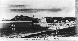 QUEBEC SURNAMES: Laurent + Berthelot, Filles du Roi, Laurent Kahnawake, Laurent Native Metis, Luneau, Palin, Rochereau LOCATIONS: Qubec, hamplain, Monteal, Repentigny, Chambly | Antique drawing of Fort Chambly (1814)