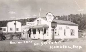 QUEBEC SURNAMES: Nadeau + Desbien, Forcier LOCATIONS: L'Ile-aux-Coudres, St-Michel-d'Yamaska. | Vintage postcard: Restaurant in the Saguenay - Owner H. Nadeau, Vintage Texaco sign