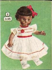 vintage dolls from the 1950s - baby with bow in hair, party dress and shoes
