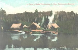 historical view of tents and canoes on edge of lake i Quebec's Temiscouata region