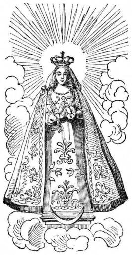 Line Drawing Virgin Mary : The blessed virgin mary with crescent moon at her feet