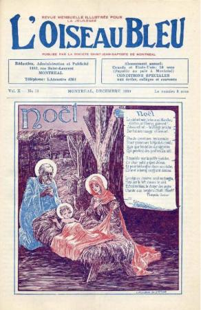 Christmas in Quebec | vintage rustic scene of Mary and Joseph (with haloes)  next to Jesus in the manger