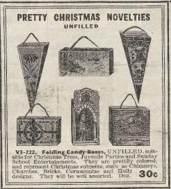 old fashioned, vintage, Christmas Tree ornaments, early 20th century | cornucopias, holly designs