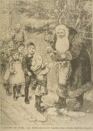 Victorian-era Canadian Pere Noel hands out gifts | Candle-lit old fashioned Christmas tree in the background