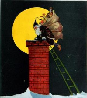 vintage image of Canadian Santa climbing into chimney rooftop