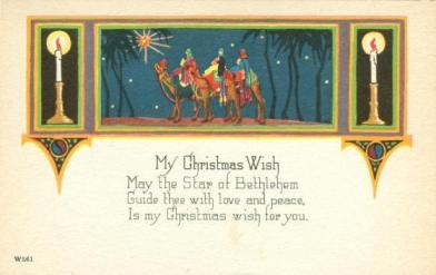 vintage coloured postcard with Christmas verse