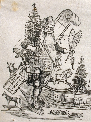 Northern Canadian Father Christmas | old fashioned toys: sled, horse pull toy, balls, hobby horse, Noah's Ark