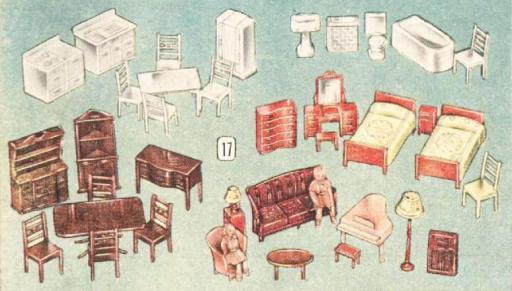 vintage dollhouse furniture sets 1940s a canadian family Metal Doll Houses From the 1950s vintage dollhouses and dollhouse furniture from christmas 1948 eatons catalogue links vintage dollhouse furniture sets 1940s