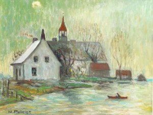 Caughnawaga, an oil painting by Narcisse Poirer