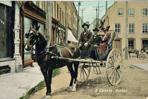 Quebec City tourism, horse, wooden wheels, spokes, early 20th century, vintage