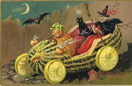 Witch in black cape and red-trimmed cone hat over red gown, travels in gourd with black cat and pumpkin chauffeur, against dark sky with crescent moon and black bat.