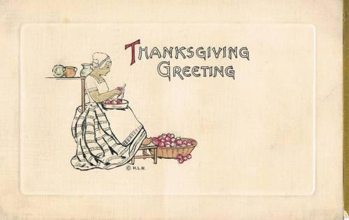Woman peels apples - vintage American Thanksgiving card