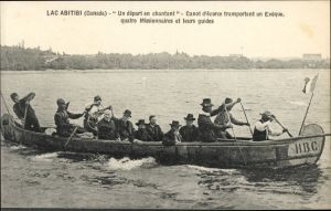 Lac Abitibi Birchbark canoe carrying missionaries and First Peoples guides