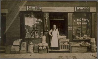 QUEBEC SURNAMES: Paquet + Beaumont, Filles du Roi, Forget, Lemieux, Odon dit Rochefort, Paquet Native Abenaki, Paradis, Pasquier, Rousseau LOCATIONS: Poitier, Quebec, Montreal   Vintage postcrd of A. Paquette Epicier (Paquette grocery store)