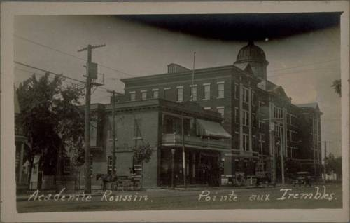 QUEBEC SURNAMES: Roussin + Asselin, Giguere, L'Oignon, Paradis, Roussin, Roussin Native Mohawk Iroquois, Roussin Oka LOCATIONS: St-Sulpice, Tourouvre, Beauport, Quebec, Chateau-Richer | Vintage postcard of Academie Roussin in POinte-aux-Trembles