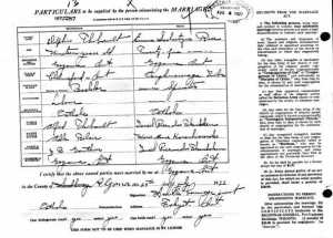 Metis genealogy, marriage record, Delphis Thibault married Emma Scolastique Rice Algoma Ontario