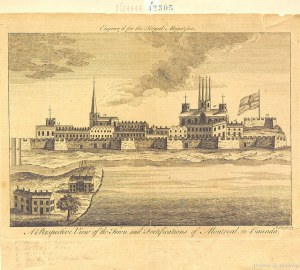 "QUEBEC SURNAMES: Maillet + Chaille, Couture, Dontaille, Doyon, Forget, Hardy, Leneuf, Maillet, Quenneville, Richard | Historic sketch ""A Perspective View of the Town and Fortifications of Montreal in Canada"""