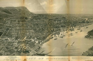 "QUEBEC SURNAMES: Perthuis + Damise, Filles du Roi, Lajeunesse, Perthuis, Perthuis Kahnawake, Perthuis Native Mohawk Iroquois, Roberge, Selle LOCATIONS:Quebec, Montreal | Vintage ""overhead"" b/w of Montreal and harbour, 1888"