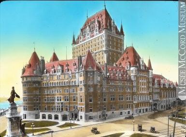 QUEBEC SURNAMES: Proulx + Fournier, Pinel, Sebile | LOCATIONS: Quebec, Blois (France) | Vintage postcard of Quebec City's Chateau Frontenac