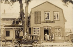 QUEBEC SURNAMES: Laberge + Gausse, Laberge Kahnawake, Leborgne LOCATION: Chateau-Richer | Vintage postcard of G. Laberge, Merchant in St Etienne de Beauharnois