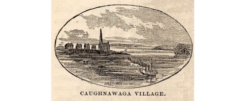Historic line drawing of the Mohawk Caughnawaga Village (today's Kahnawake) with Sault St. Louis in the background