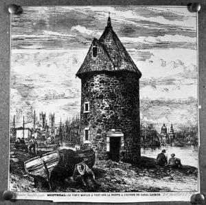 QUEBEC SURNAMES: Girard + Bariteau, Beaune, Boscher, Brunet, Calve, Deviss, Filles du Roi, Forcier, Girard, Girard Native Innu Montagnais, Girard Native Metis, Poitras, Renaud, Voisin | Historic b/w drawing of Lachine's Old Mill - Le vieux moulin a vent sur la pointe a l'entree du Canal Lachine