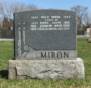 Headstone: MIRON | St. Constant | Quebec Cemeteries