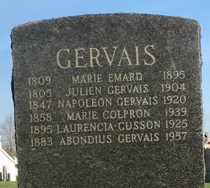Headstone: GERVAIS | St. Constant | Quebec Cemeteries