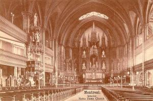 QUEBEC SURNAMES: Viau + Boucher, Filles du Roi, Plouard, Provost, Viau Kahnawake, Viau Native Metis LOCATIONS: Montreal, St. Nicolas, Quebec | Vintage postcard, Montreal_Interior_Notre_Dame_Church_1907