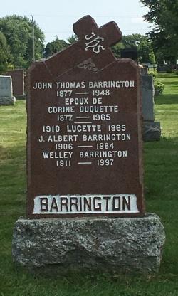 Headstone: BARRINGTON  | Cimetière de la Paroisse Saint-Clément, Beauharnois  | Quebec Cemeteries