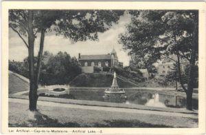 QUEBEC SURNAMES: Veronneau + Maugras LOCATION: Cap-de-la-Madeleine | Vintage postcrd of artificial lake at Cap-de-la-Madeleine