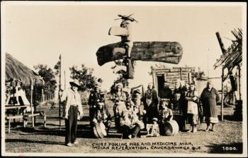 Chief Poking Fire and Medicine Man, Indian Reservation, Caughnawaga (now Kahnawake)
