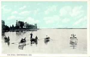 QUEBEC SURNAMES: Germain + Perrin, Lemoine, Roy, Coignard LOCATIONS: Montreal, Contrecoeur, Quebec | Vintage postcard of Contrecoeur, Quebec, rowboats on the water