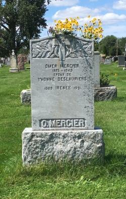 Headstone: MERCIER  | Cimetière de la Paroisse Saint-Clément, Beauharnois  | Quebec Cemeteries