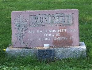 Headstone: MONTPETIT    Cimetière de la Paroisse Saint-Clément, Beauharnois    Quebec Cemeteries