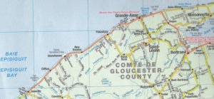 Theriault Genealogy | Grande Anse | New Bandon | Gloucester County | New Brunswick | Map