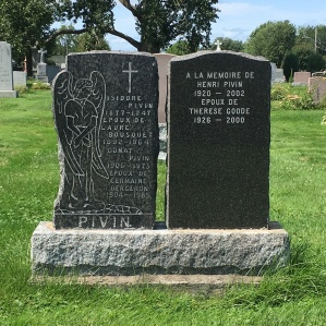 Headstone: PIVIN  | Cimetière de la Paroisse Saint-Clément, Beauharnois  | Quebec Cemeteries
