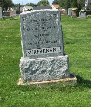 Headstone: SURPRENANT  | Cimetière de la Paroisse Saint-Clément, Beauharnois  | Quebec Cemeteries